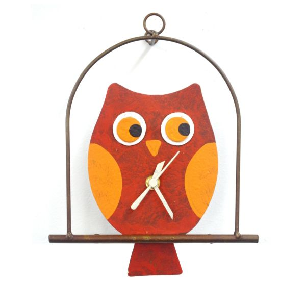 Oxidos Owl in Flat Cage - Red