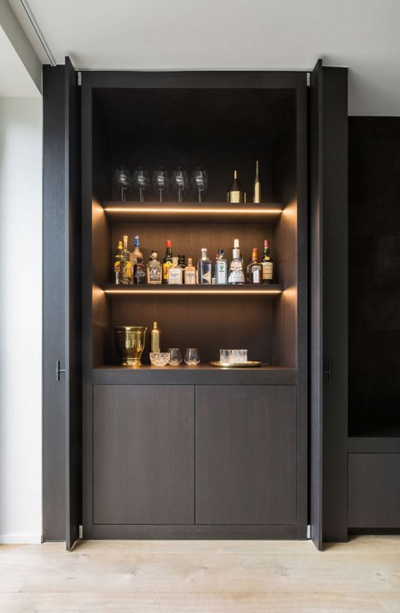 Bar concept living/dining off kitchen in black timber veneer: