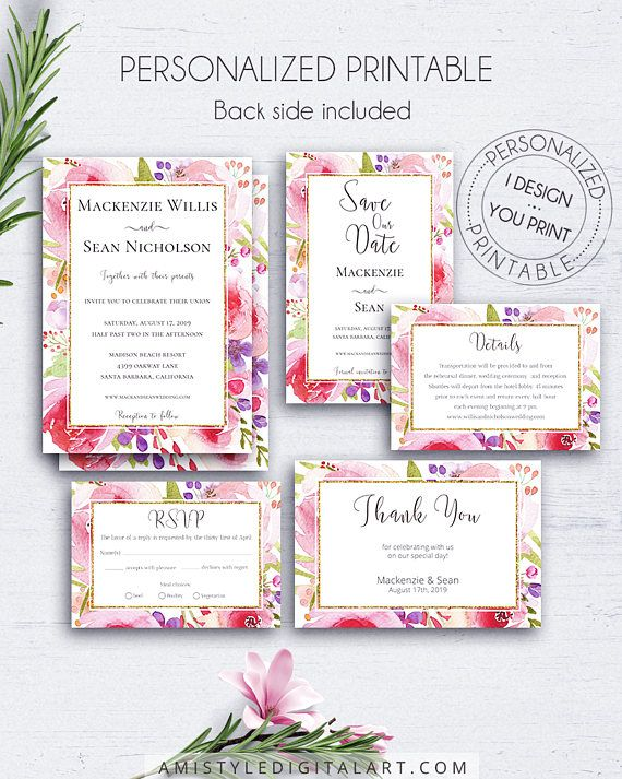 Botanical wedding invitation suite with elegant and romantic hand-painted watercolor flowers and glitter gold borderPrintable digital file customized with your wedding information.Build your suite - choose your card combination! By Amistyle Digital Art on Etsy