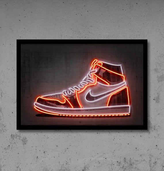 Jordan sneaker digital neon art print ideal for any room decor ...