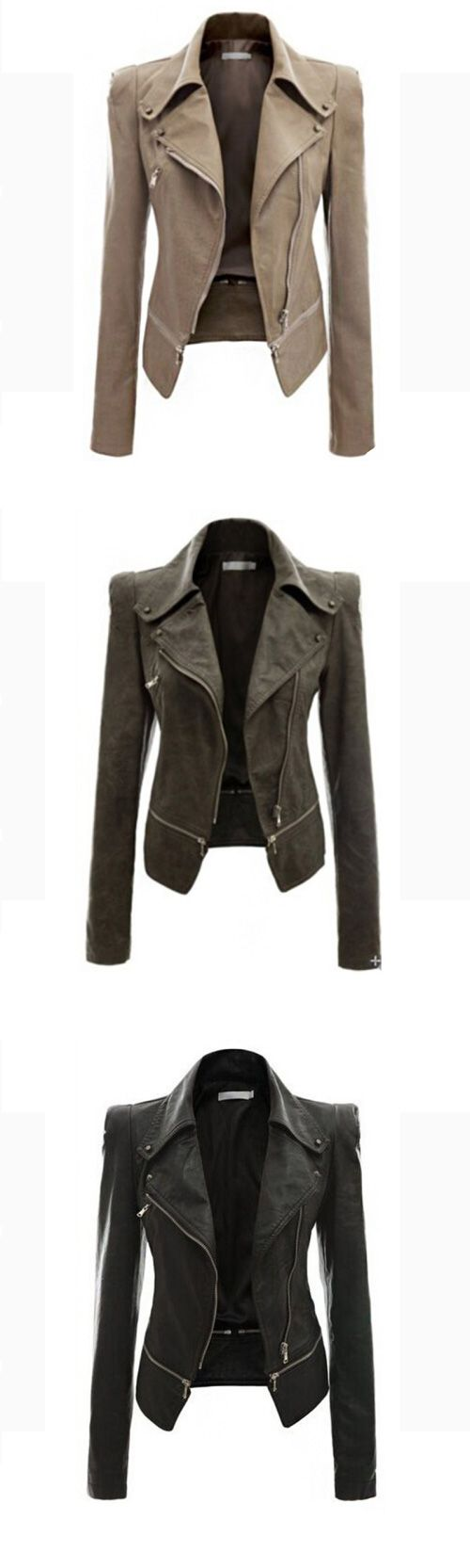Women's Solid Black / Brown / Green Jackets