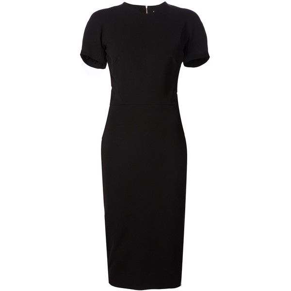 Victoria Beckham mid-length fitted dress (4 308 465 LBP) ❤ liked on Polyvore featuring dresses, black, fitted dresses, mid length dresses, black fitted dress, kohl dresses and black dress