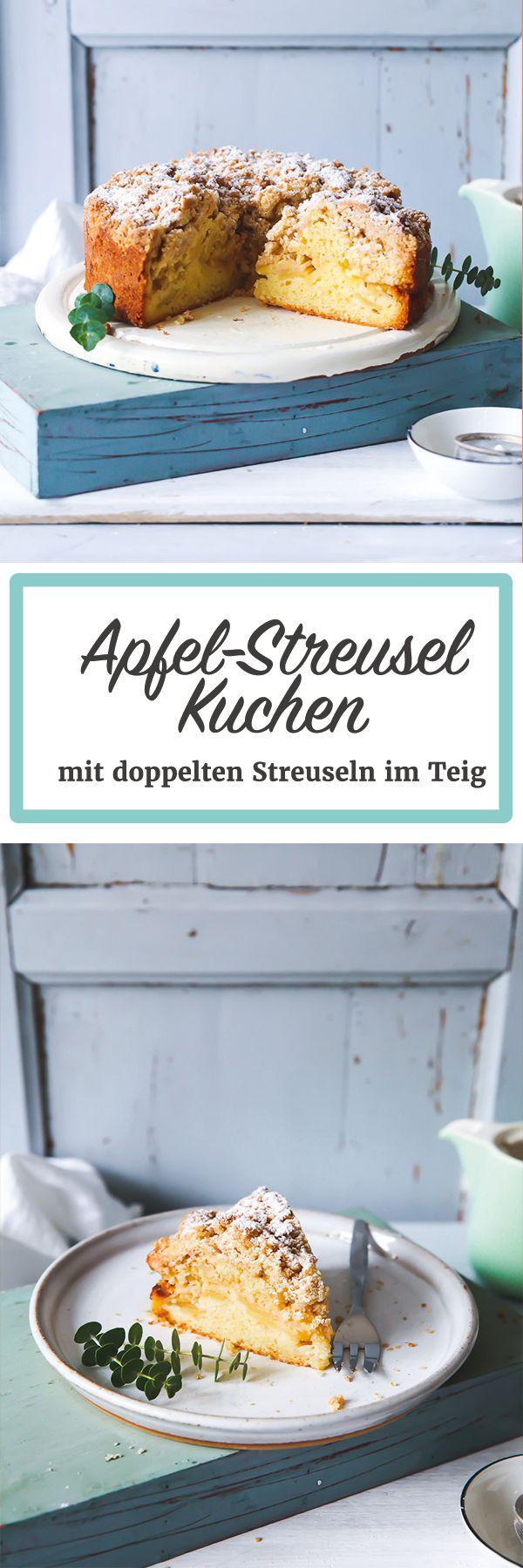 Apfel Streusel Kuchen Rezept mit Streuseln im Teig - double streusel apple cake zuckerzimtundliebe.de