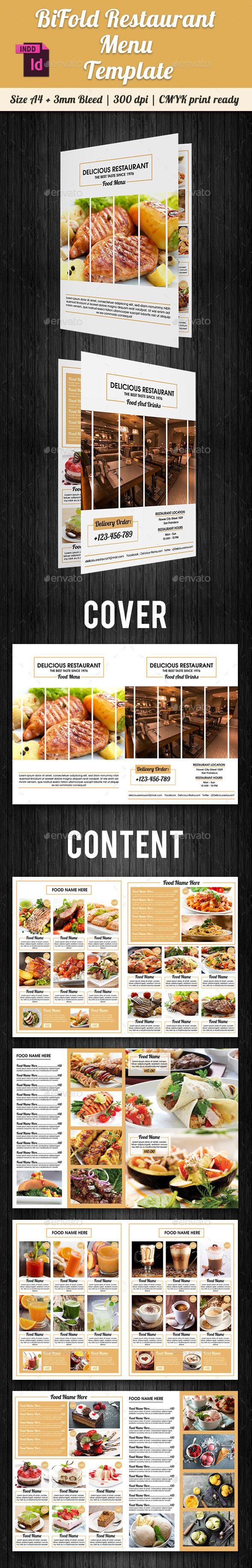 BiFold Restaurant Menu Template InDesign INDD