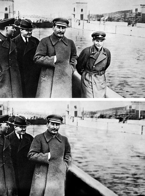 Nikolai Yezhov, the young man strolling with Joseph Stalin to his right, was shot in 1940. He was edited out from a photo by Soviet censors. Such retouching was a common occurrence during Stalin's reign.