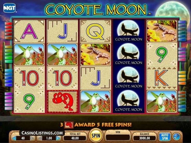 Made by International Gaming Technology (IGT), Coyote Moon Slots offers a lot of features that make it a highly attractive free online casino game. This slot machine is based on Wolf Run and Wild Wolf casino games. It has five reels and 40 paylines. The minimum bet you can make is 0.01, and the maximum is 50, with a jackpot prize of 1,000. Its background is a wolf, which is the theme of the pokie. http://free-slots-no-download.com/igt-software/5423-coyote-moon/