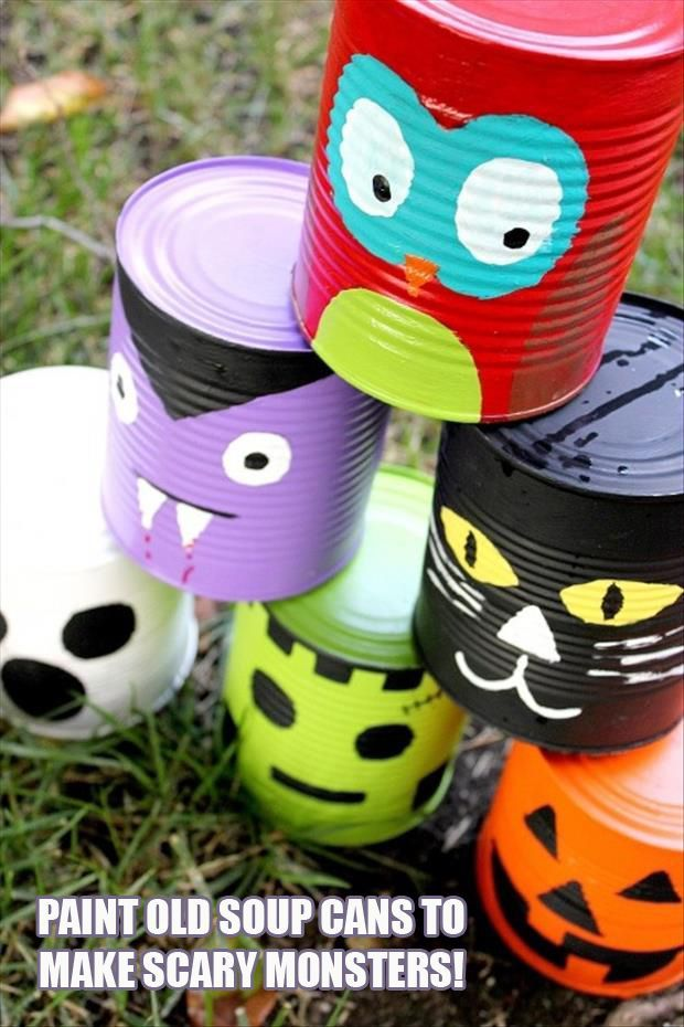 paint aluminum cans to make cute yardporch decor only charge is the cost halloween