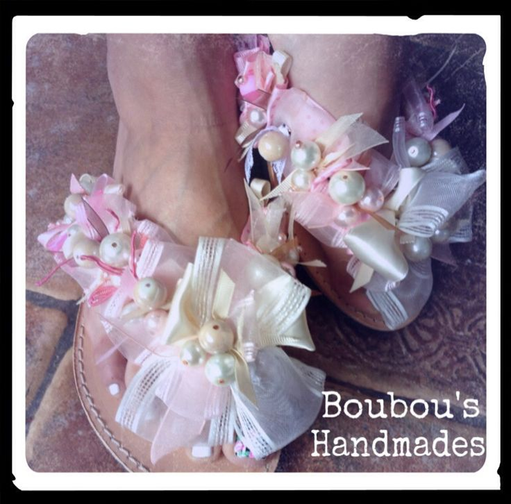 Handmade DIY leather sandals! Pink and white pearls! Vey unique! Extra stylish!!!!