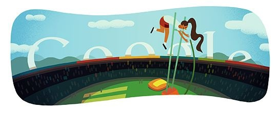 Londra 2012 salto con l'asta: il 9° doodle olimpico fa volare Google aspettando Isinbaeva