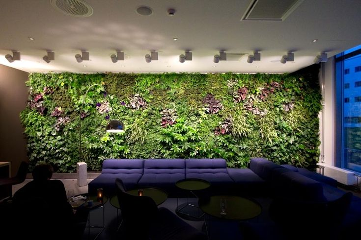 Modern Indoor Residential Vertical Gardens: Office Waiting Room Verical Garden Feature Wall Couch And Angled Lighting ~ olpos.com General Inspiration