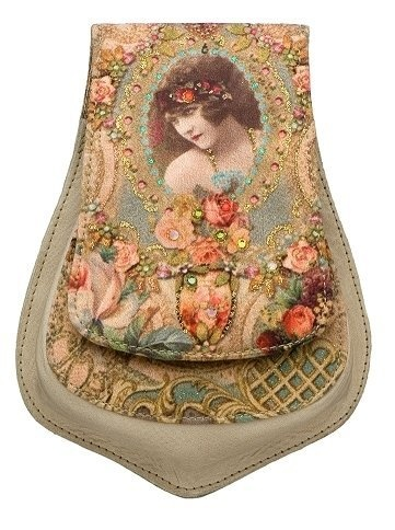 Vintage Style Michal Negrin Leather Small Pouch with Victorian Lady and Roses Printed Velvet Enhanced with Sparkling Swarovski Crystals; Handmade in Israel Michal Negrin, http://www.amazon.com/dp/B0080HWG0M/ref=cm_sw_r_pi_dp_KRSirb1VE2FXD