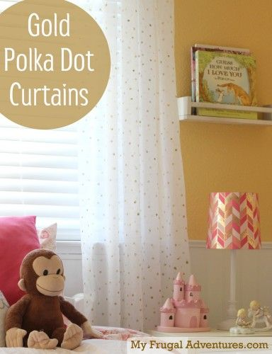 Easy DIY Gold Polka Dot Curtains- just $13 and a little time! These are so fun and you won't believe how easy!