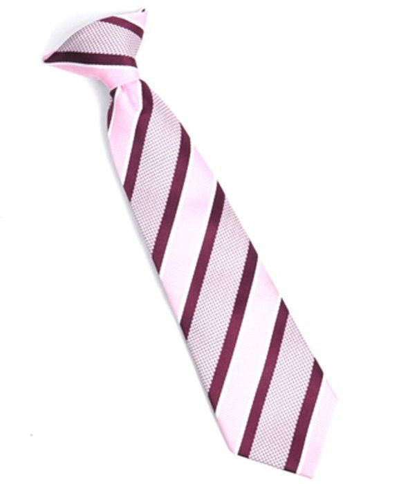 "Boy's Youth Pink Striped Clip On Tie (11""Long)"