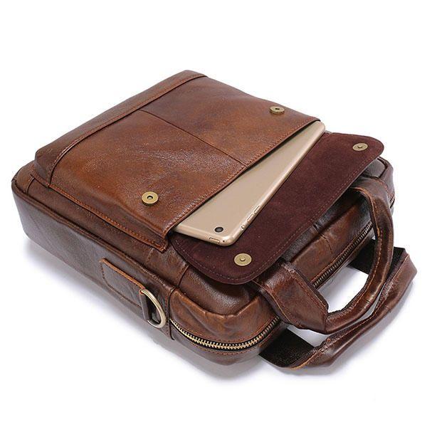 Vintage Genuine Leather Business Multi-function Crossbody Bag For Men - US$47.71  #men #women  #bags #fashion