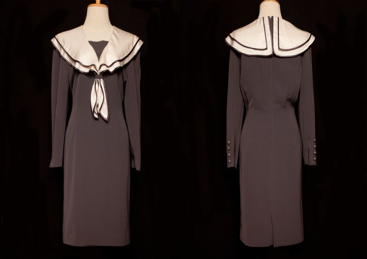 Grey vintage dress,pencil dress,Japanese grey dress,sailer dress,party dress,evening dress,japanese vintage,long sleeve dress,scarf dress by VintageCosmopolitan on Etsy