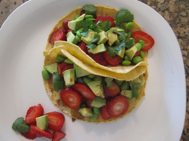 The Strawberry Avocado Tacos from pg 102 my newest book S.A.S.S! Yourself Slim :) Organic strawberries, whole corn tortillas, organic edamame, ripe avocado, cilantro and a drizzle of balsamic vinegar.