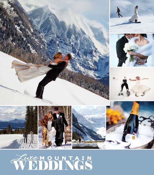 Snowy mountain wedding. Omg! So love that the bride is snowboarding in her dress!! Something I'd do :)