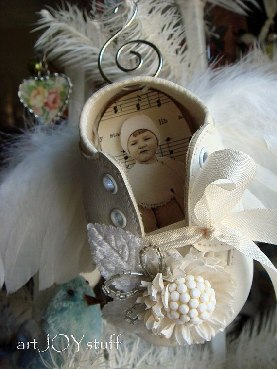 VINTAGE BABY SHOE ORNAMENTS | vintage baby shoe angel ornament vintage no 313 by ajoy2bheld