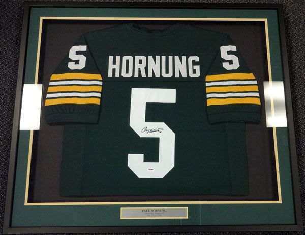 paul hornung autographed green bay packers green framed jersey psadna