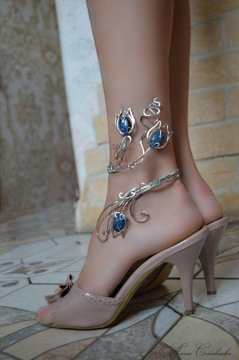 Anklet bracelet, body jewelry, flower anklet, leg bracelet, ankle jewelry, silver jewelry, copper jewelry, gold anklet
