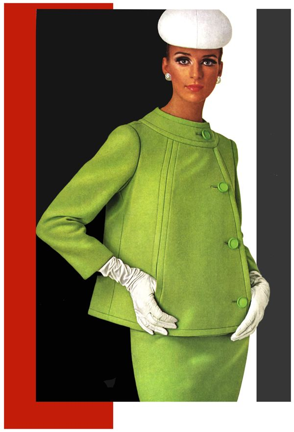 Jacques Heim Paris, 1966 vintage fashion style color photo print ad model magazine green suit dress jacket skirt hat gloves white 60s Repinned by www.lecastingparisien.com