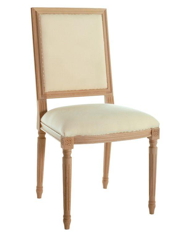 Eckiger Barockstuhl ohne Armlehne mit Weißpolster. Der Stuhl ist aus unbehandeltem Buchenholz und hat eine Federkern