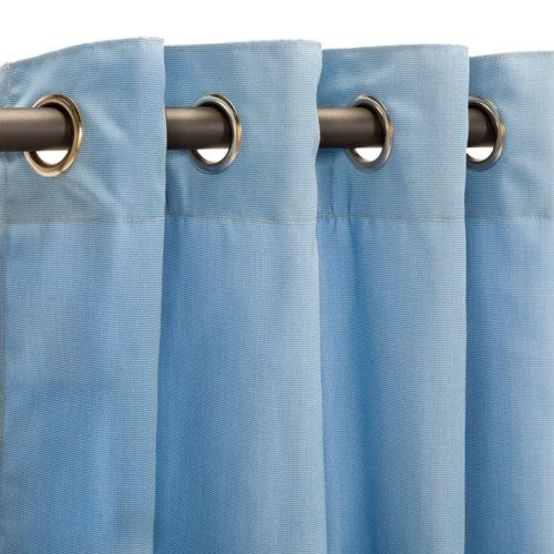 Sunbrella Curtain Grommets Canvas Air Blue
