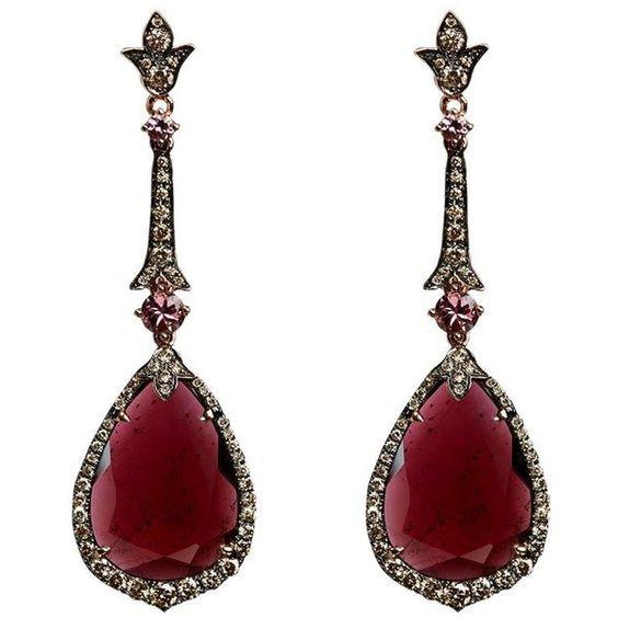 Annoushka Ooak Rose Gold Garnet Earrings