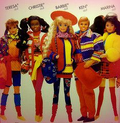 Barbie and her friends dress in Benetton to prove they are better than you. Color blocking mo fo's!!