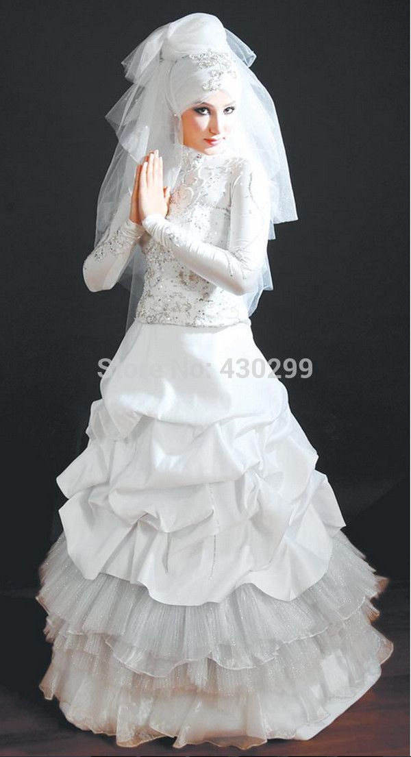 2014 Female Lady Fast Deliver Fashion Ruffle Layer Full Long Sleeve Arabic Style Ball Gown White