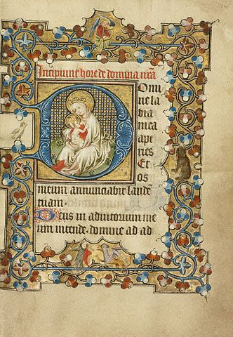 Initial D: The Virgin and Child (Getty Museum).     Masters of Dirc van Delf   Dutch, Utrecht, about 1405 - 1410   Gold leaf and tempera colors on parchment   6 1/2 x 4 5/8 in.   MS. 40, FOL. 14