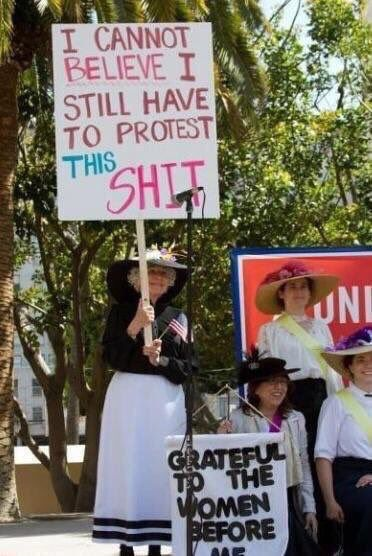 Surely the best protest sign at a women's equality demonstration, ever.