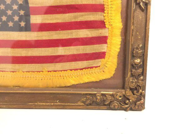 Gold Fringed Framed American Parade Flag 1959 American Flag Etsy Cloth Flag Gold Fringe Etsy