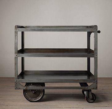 1930s Industrial Steel Bar Cart - eclectic - bar carts - Restoration Hardware