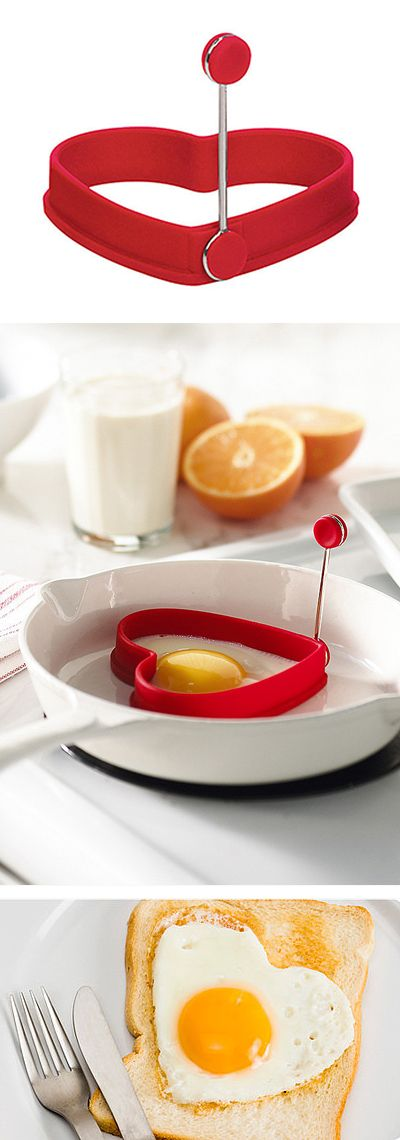 Red heart egg mold // love this - heart shaped fried eggs! Perfect for #Valentines morning!