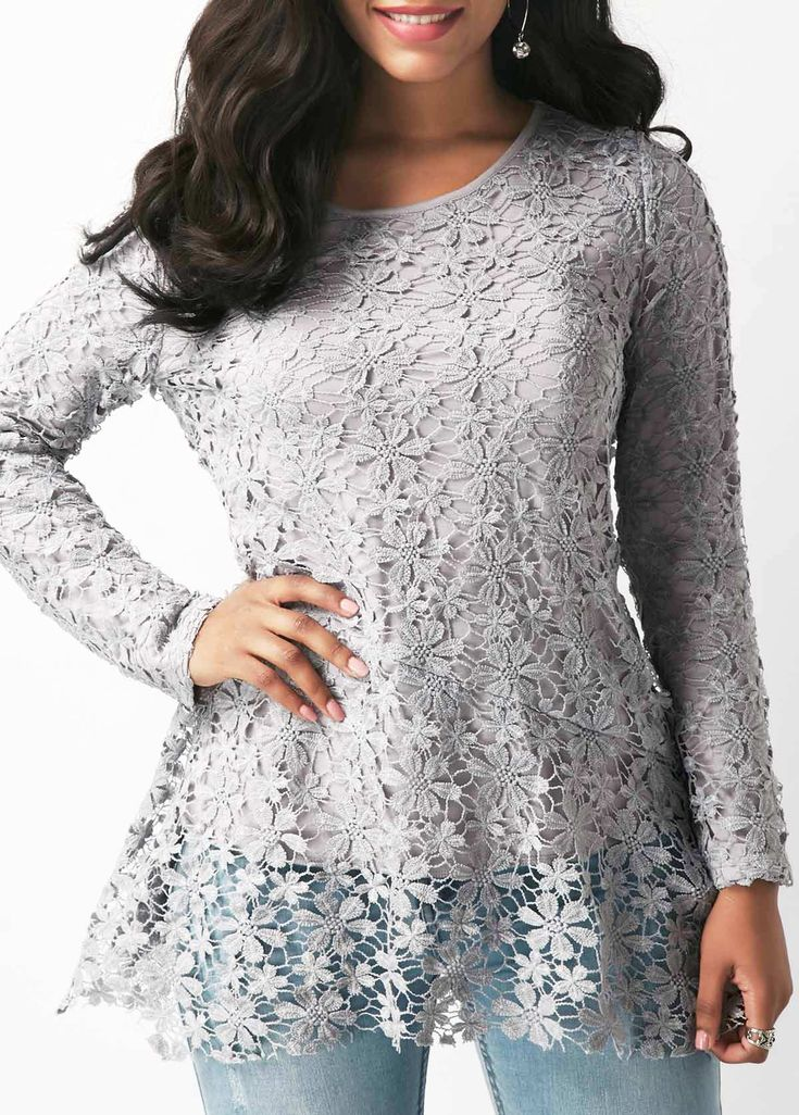 Round Neck Long Sleeve Lace Grey Blouse | Rosewe.com - USD $33.69