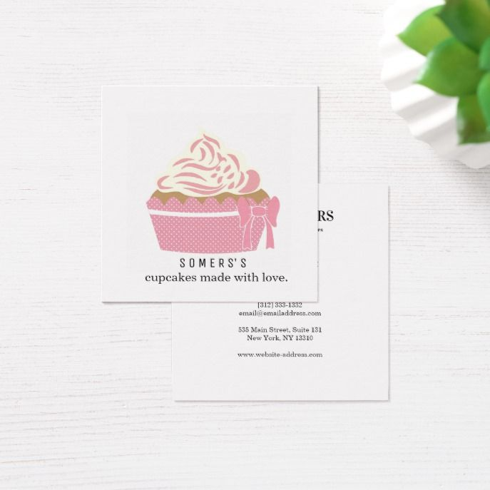 Modern Cupcake Baker Bakery Chef Catering Square Business Card Zazzle Com Square Business Card Business Cards Business Design