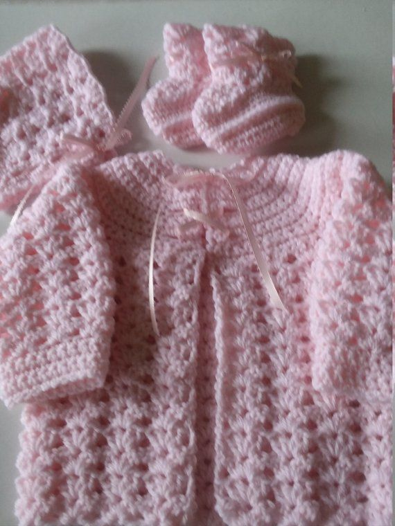 Baby Sweater Set Crocheted Sweater Set Infant Sweater Set Etsy In 2020 Baby Cardigan Knitting Pattern Knit Baby Sweaters Baby Knitting Patterns