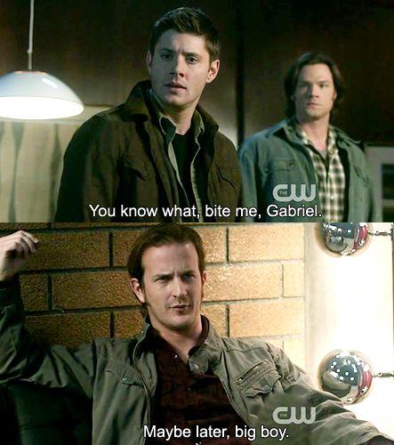 Lol, I Love That Behind Dean, Sam Looks Pissed. No One Tells Sam's Angel To Bite Them, Except Sam. XD