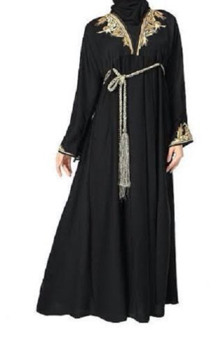 """Abaya From India Gold on chest and sleeves Comes with rope like belt Comes with matching shawl Available Sizes : 54"""", 56"""" , 58"""", 60 """" Material: polyester Sizes by height."""
