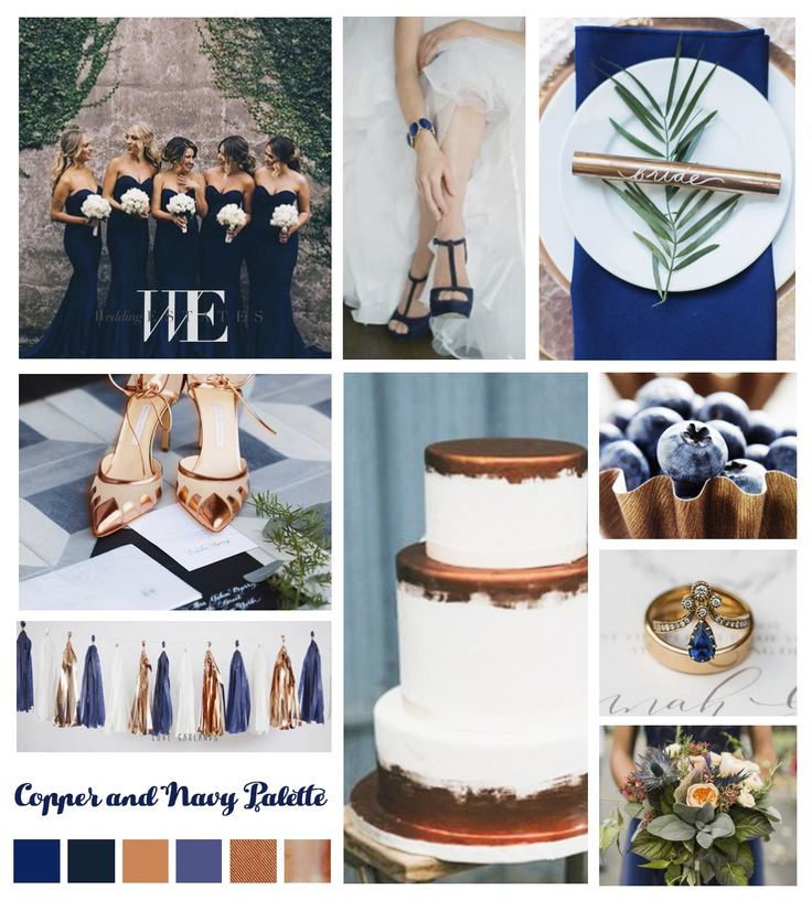 Wedding color theme navy and bronze