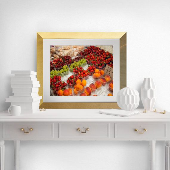 Fruit  Market Croatia  Red  Peaches  Wall Art  by AprilWallCharms