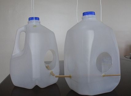 10 images about plastic crafts on pinterest water for Plastic milk carton bird feeder