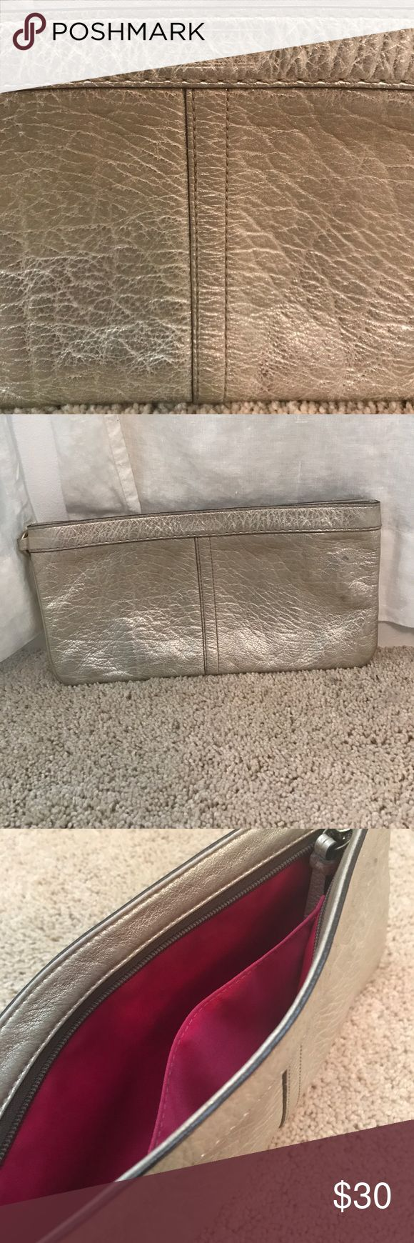 Coach Clutch in Metallic Gold Gold Coach Clutch with few flaws. Perfect for a night out Coach Bags Clutches & Wristlets