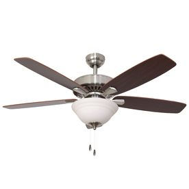 Palm Coast Oakleigh 52-in Brushed Nickel Downrod or Flush Mount Ceiling Fan with Light Kit and Remote Control