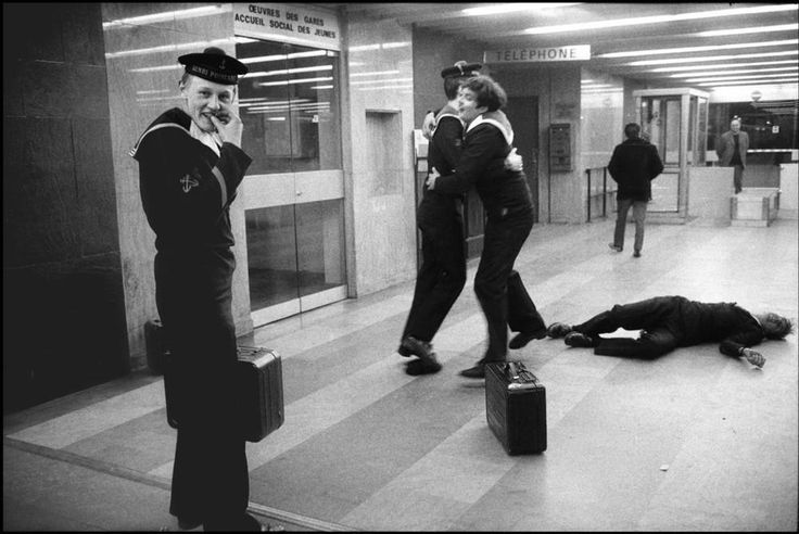 "Paris. 14-15th arrondissement. Monparnasse-Bienvenüe station. Sailors celebrate ""la quille"" – the end of their service. April 20th 1973"