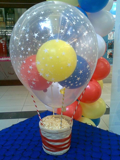 13 best decorations images on pinterest sunday school for Helium balloon centerpieces