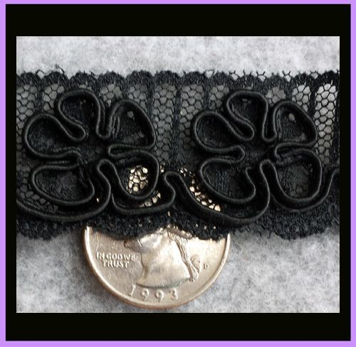 Antique Lace Trim Edging Black on Black Soutache Flowers on Net from toinetterl on Ruby Lane
