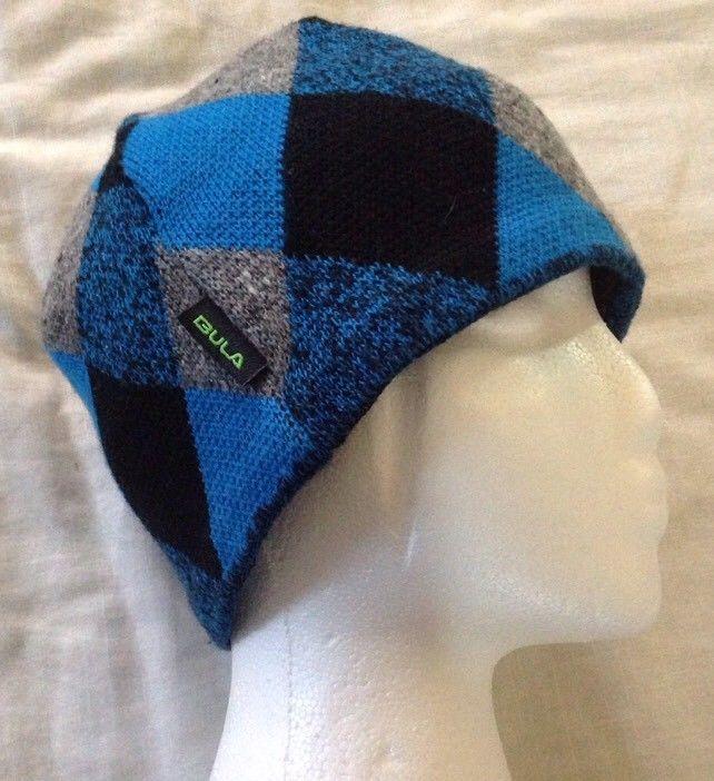 ... finest selection Bula Wool Blend Beanie Diamond Skater Ski Winter  Argyle Blue Black Winter Hat Bula ... 5f06811d7460