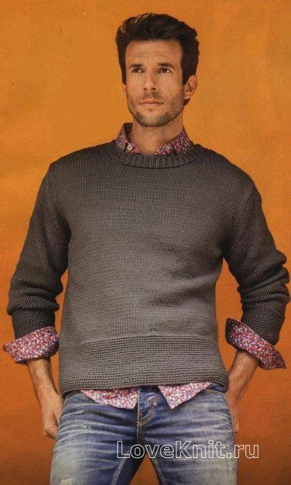 Мужской пуловер с широкой планкой